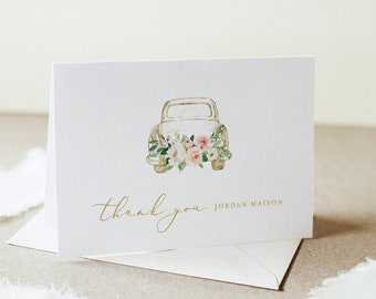 Drive-by Thank You Card, Social Distance Bridal Thank You Note, Flat & Folded, Editable Template, Instant Download, Templett #043DB-178TYC