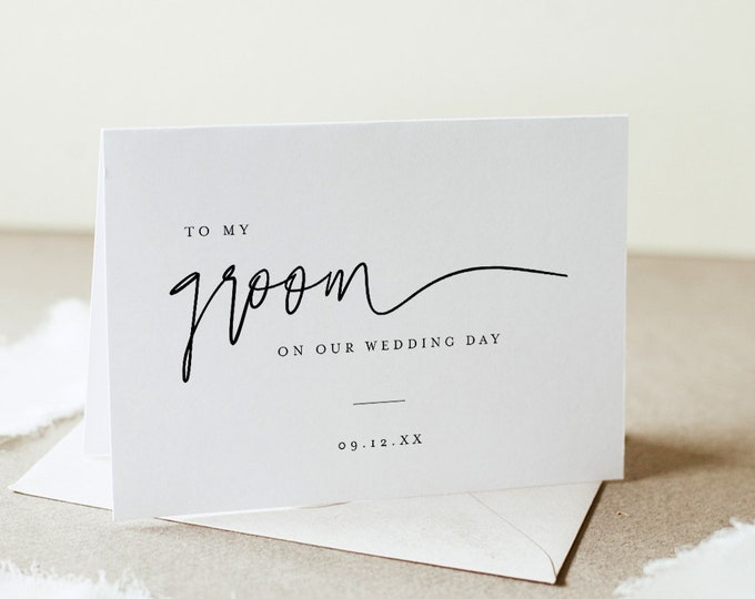 Minimalist Wedding Day Note, To My Groom / Bride On Our Wedding Day, Folded Note Card, Editable Template, Instant Download, DIY #0009-104WDN