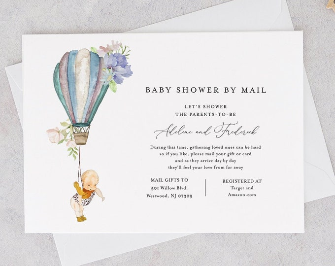 Baby Shower by Mail Template, Social Distancing, Hot Air Balloon Baby Shower Invite, Editable Text, Instant Download, Templett #156BA