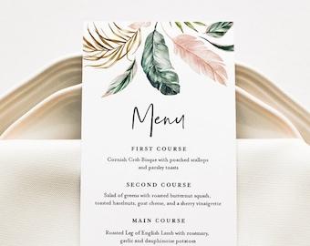 Tropical Wedding Menu Template, INSTANT DOWNLOAD, Printable Dinner Menu Card, 100% Editable Text, Beach Wedding, Templett #087-155WM