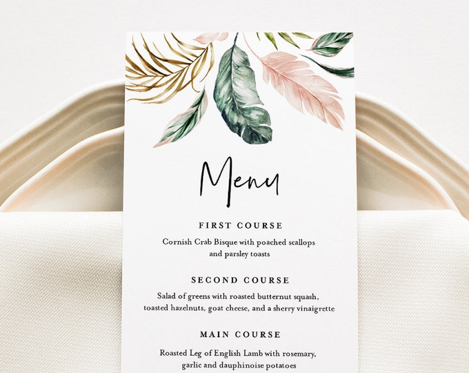 Tropical Wedding Menu Template, INSTANT DOWNLOAD, Printable Dinner Menu Card, 100% Editable Text, Beach Wedding, Templett #087-155WM