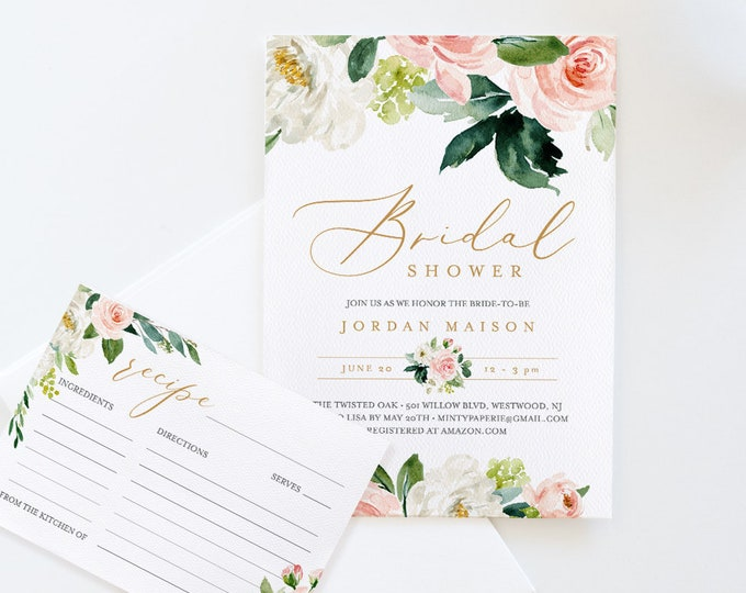Bridal Shower Invitation + Recipe Card Set, Instant Download, Editable Template, Printable Invite & Recipe Insert, Floral Greenery #043-BSRC
