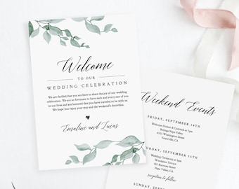 Welcome Letter and Itinerary, Wedding Agenda, Timeline of Events, Printable Welcome Bag Note, Fully Editable, INSTANT DOWNLOAD #019-109WB