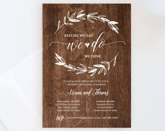 Wedding Rehearsal Dinner Invitation, INSTANT DOWNLOAD, Printable Rehearsal Dinner Invite, Rustic Wood, Fully Editable, Digital #023-103RD