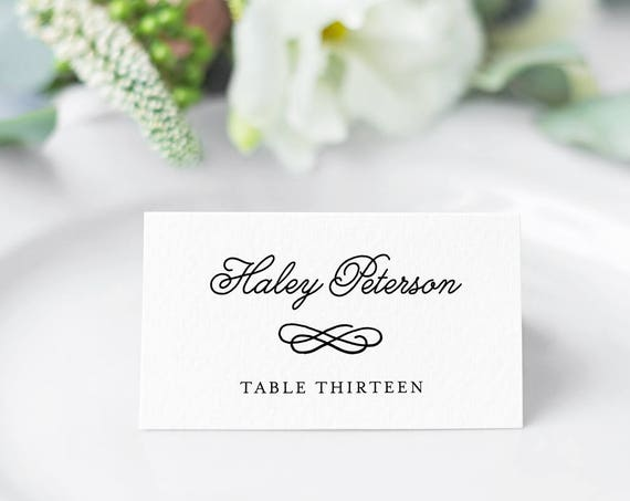 Wedding Place Card Template, Printable Escort Card, Name Card, Seating Card, Table Number, Instant Download, 100% Editable, DIY #035-102PC