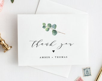 Eucalyptus Wedding Thank You Card Template, INSTANT DOWNLOAD, 100% Editable Text, Printable Greenery Folded Thank You Card, DIY #036-110TYC