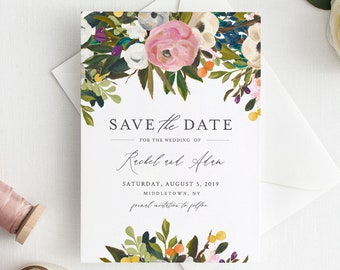 Printable Save the Date Template, Lush Florals Wedding Date Announcement, INSTANT DOWNLOAD, 100% Editable Text, DIY, Templett #054-138SD