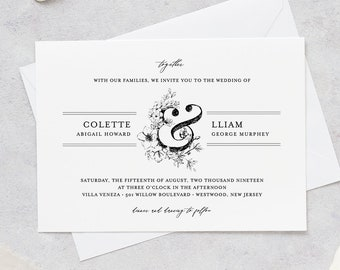 Wedding Invitation Set, Vintage Wedding Suite, Rustic Botanical Invite, RSVP and Details, 100% Editable Template, INSTANT DOWNLOAD #061A