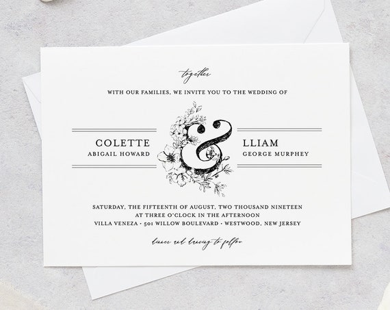 Wedding Invitation Set, Vintage Wedding Suite, Rustic Botanical Invite, RSVP and Details, 100% Editable Template, INSTANT DOWNLOAD #061A