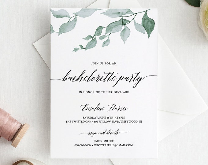 Bachelorette Party Invitation with Itinerary / Agenda, 100% Editable, Instant Download, Printable, Watercolor Greenery, Templett #019-108BP