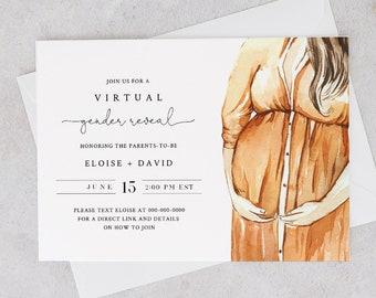 Virtual Gender Reveal Invitation Template, Social Distance Gender Reveal, Zoom Live, 100% Editable, Instant Download, Templett #0005-104GR