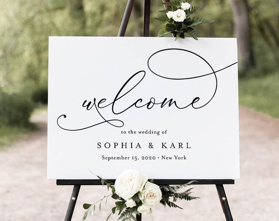 Calligraphy Welcome Sign, Printable Minimalist Wedding or Bridal Shower Poster, Instant Download, Editable Template, Templett #092-183LS
