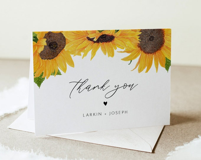 Sunflower Thank You Card, Rustic Sunflower Wedding / Bridal Shower, Editable Template, Flat & Folded, Instant Download, Templett 0010-159TYC