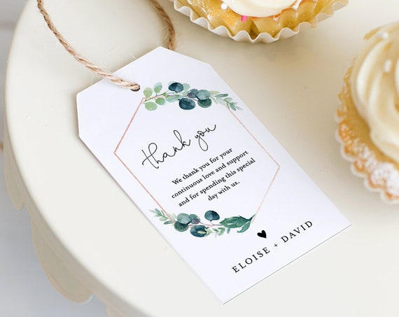 Greenery Favor Tag for Bridal Shower or Wedding, Welcome Bag Tag, Thank You Tag, INSTANT DOWNLOAD, 100% Editable Text, Printable, #068-132FT