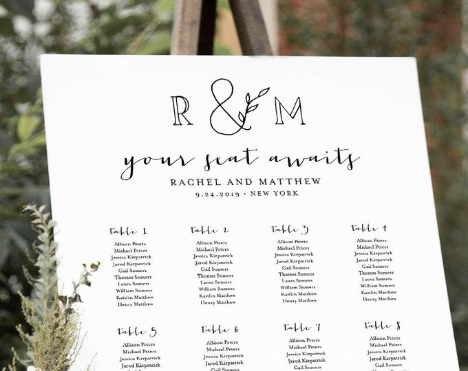 Seating Chart Template, Printable Bridal Shower Seating Sign, Rustic Monogram Initials, Instant Download, Editable Text, Templett #042-237SC