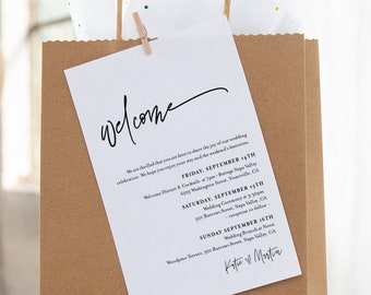 """Minimalist Welcome Bag Tag, Editable Welcome Letter and Itinerary Template, Welcome Note, Order of Events, Templett, 3.5""""x5"""" #0009-108WBT"""