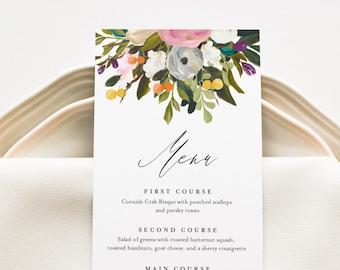 Summer Blossom Menu Template, Printable Garden Floral Wedding Dinner Menu Card, 100% Editable, INSTANT DOWNLOAD, Templett #054-203WM