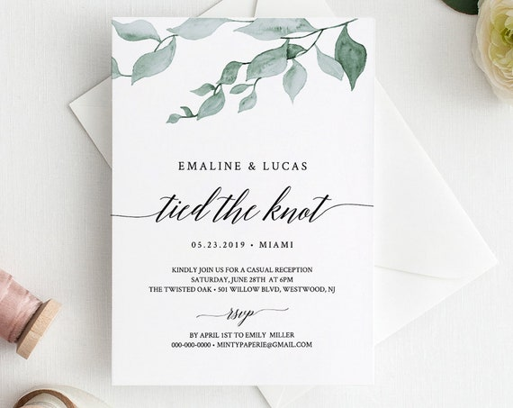 Elope Announcement, Tied the Knot, Greenery Wedding Elopement Invitation, Casual Reception, INSTANT DOWNLOAD, 100% Editable #019-109EL