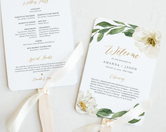Wedding Program Fan Template, Printable Flat or Fan Program, Boho Floral & Greenery, INSTANT DOWNLOAD, Order of Service, Editable #067-417WP