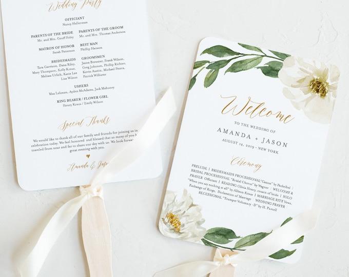 Wedding Program Fan Template, Printable Flat or Fan Program, Boho Floral & Greenery, INSTANT DOWNLOAD, Order of Service, Editable #067-417WP