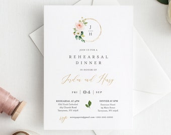 Self-Editing Rehearsal Dinner Template, INSTANT DOWNLOAD, Printable Rehearsal Invite, 100% Editable Text, Monogram, Templett, DIY #043-129RD