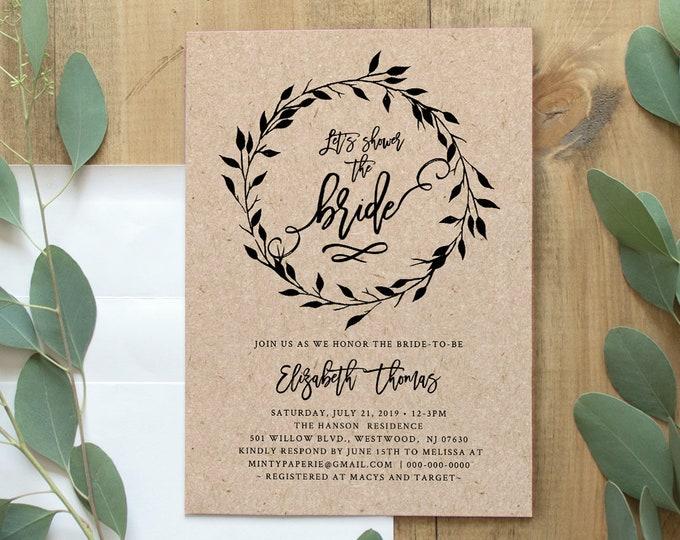 Rustic Bridal Shower Invitation Template, INSTANT DOWNLOAD, 100% Editable, Printable Self-Editing Shower Invite, Kraft Paper, DIY #010-151BS