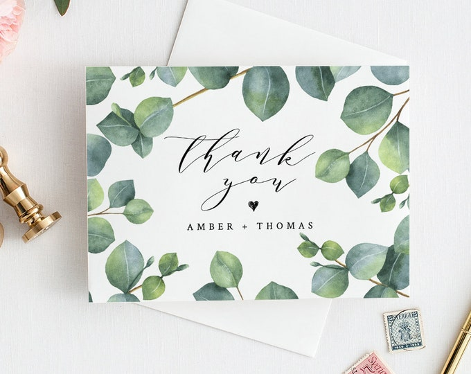 Thank You Card Template, INSTANT DOWNLOAD, 100% Editable Text, Printable Greenery Eucalyptus Wedding Thank You Folded Card, DIY #036-109TYC
