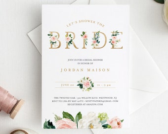 Boho Bridal Shower Invitation Template, INSTANT DOWNLOAD, 100% Editable Text, Printable Floral Bridal Shower Invite, Templett #043-153BS