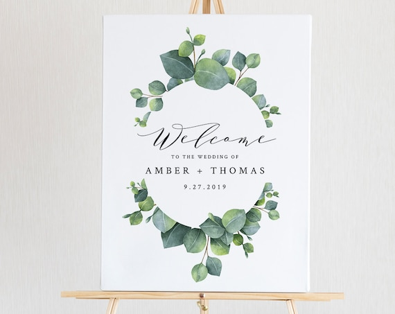 Editable Wedding Welcome Sign Template, Printable Eucalyptus Welcome Poster, INSTANT DOWNLOAD, Greenery, Boho, 18x24, 24x36 #036-117LS