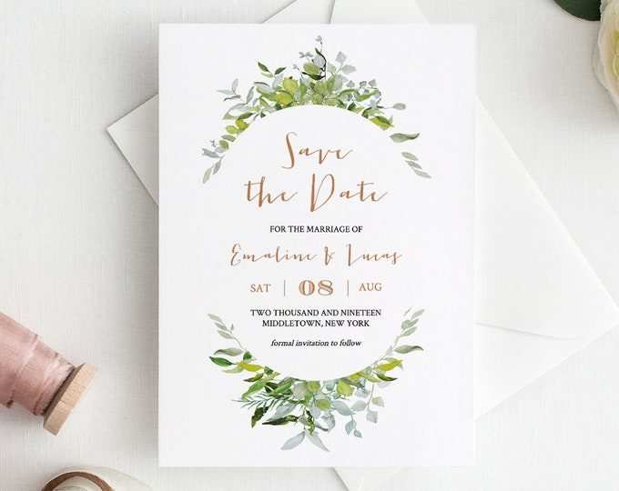 Printable Save the Date, Greenery Wedding Date Card, INSTANT DOWNLOAD, Printable, 100% Editable Template, DIY, Templett #016-106SD