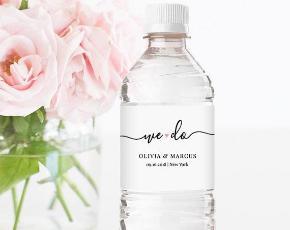 Water Bottle Label Template, DIY Wedding Label, Modern Calligraphy Wedding Water Bottle, Instant Download, 100% Editable, Digital #030-105BL