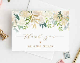 """Thank You Card Template, Printable Wedding / Bridal Shower Thank You, Folded Note Card, INSTANT DOWNLOAD, Self-Editing, 3.5""""x5"""" #021-105TYC"""
