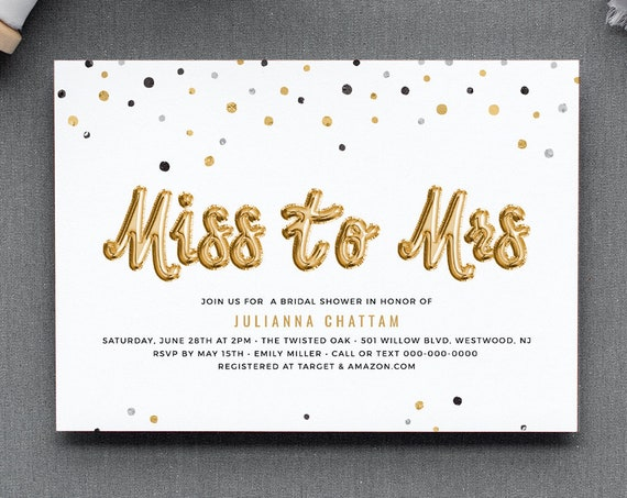 Bridal Shower Invitation Template, Gold Foil Balloon Miss to Mrs, Printable Couples Shower, 100% Editable Text, INSTANT DOWNLOAD #028-181BS