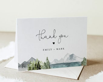 Lake Thank You Folded Card Template, Editable Wedding / Bridal Shower Note, Woodland Mountain Pine, INSTANT DOWNLOAD, Templett #017A-145TYC