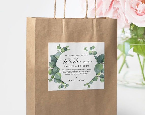 Eucalyptus Welcome Bag Label Template, Welcome Box Sticker, INSTANT DOWNLOAD, 100% Editable Text, Printable Hotel Bag, Templett #036-109WBL