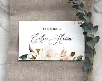 Magnolia Place Card Template, Printable Southern Wedding Escort / Seating Card, Name Card, INSTANT DOWNLOAD, Editable, Templett #015-136PC