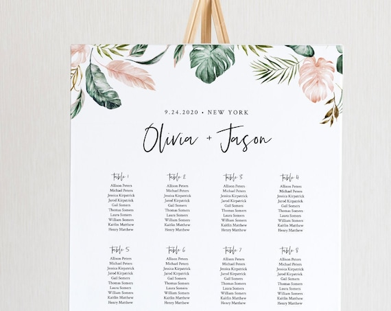 Tropical Seating Chart Template, Wedding Seating Sign, Alphabetical & Table Number Order, 100% Editable Text, INSTANT DOWNLOAD #087-250SC