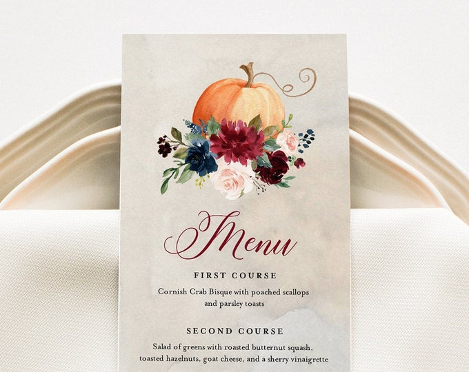 Fall Menu Card Template, Pumpkin Dinner Menu for Wedding, Bridal Shower, Baby Shower, Editable Text, Instant Download, Templett #072-151WM