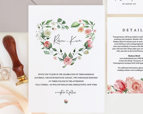 Wedding Invitation Set Template, Watercolor Floral Greenery Heart Wreath, Boho Wedding, INSTANT DOWNLOAD, 100% Editable Text, Templett #058A