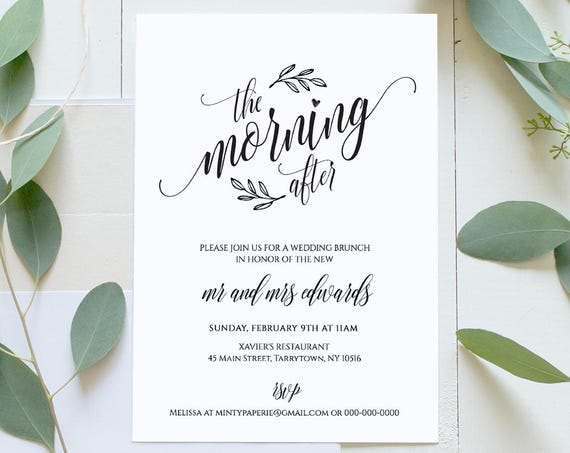 Wedding Brunch Invitation Template, Printable Post Wedding Brunch Invite, The Morning After, Instant Download, Editable, Digital #020-101BR