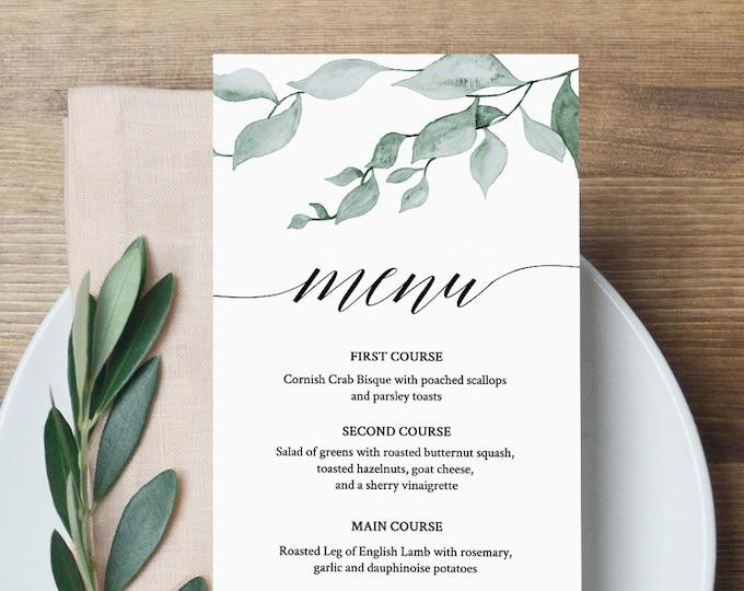 Greenery Menu Template, Wedding Dinner Menu, Reception Card, Printable, Watercolor Leaves, INSTANT DOWNLOAD, Fully Editable, DIY #019-109WM