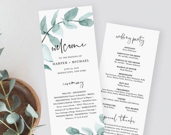 Eucalyptus Wedding Program Template, Printable Order of Service, Editable Text, Instant Download, Watercolor Greenery, Templett #049-218WP