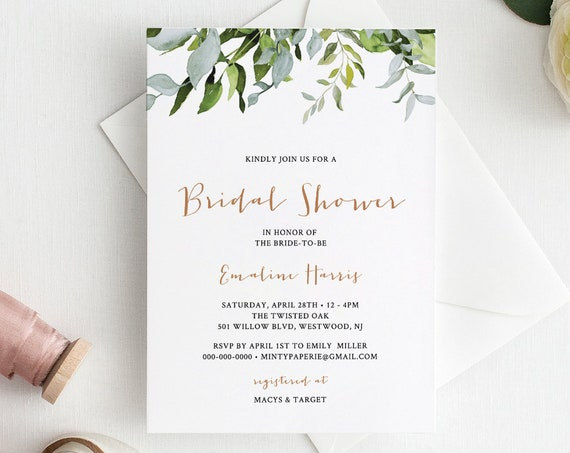 Self-Editing Bridal Shower Invitation, Wedding Shower Invite, Printable, Watercolor Greenery, Editable Template, Instant Download #016-109BS