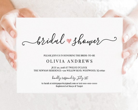 Bridal Shower Invitation Template, Printable Heart Bridal Shower Invite, Modern Calligraphy, 100% Editable, Instant Download #030-203BS