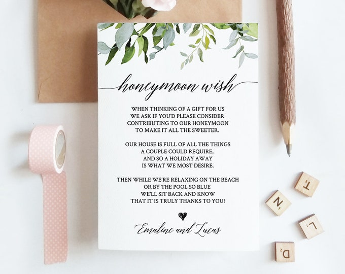 Honeymoon Fund Card, Honeymoon Wish Poem Template, Wedding Insert Card, INSTANT DOWNLOAD, Editatable Text, Printable, Templett #016-112EC