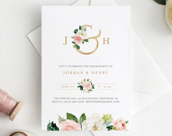 Self-Editing Engagement Party Invitation Template, INSTANT DOWNLOAD, 100% Editable Text, Engaged Announcement, Gold Monogram #043-118EP