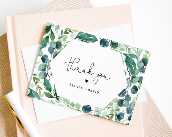 Garden Thank You Note Card Template, Printable Greenery Wedding / Bridal Shower Folded Card, INSTANT DOWNLOAD, Editable, DIY #068-115TYC