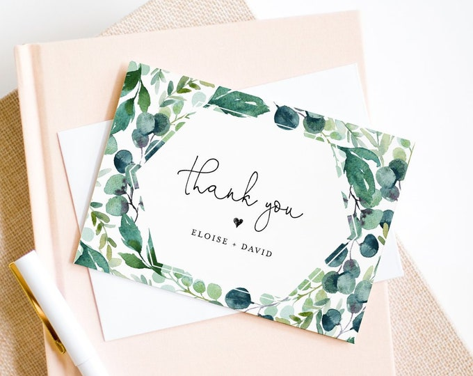 Garden Thank You Note Card Template, Printable Greenery Wedding / Bridal Shower Folded Card, INSTANT DOWNLOAD, Editable, DIY #068B-115TYC