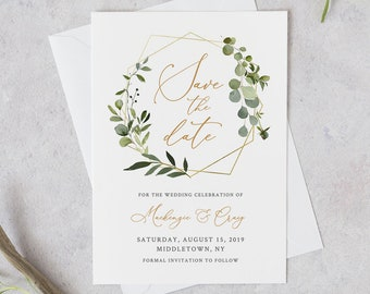 Save the Date Template, INSTANT DOWNLOAD, 100% Editable Text, Printable Greenery & Gold Wedding Date, DIY, Templett, Digital #056-131SD