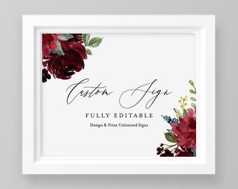 Boho Wedding Sign Template, INSTANT DOWNLOAD, 100% Editable Text, Create Unlimited Signs, Printable, Merlot Florals, 5x7, 8x10 #062-118CS